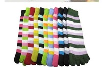 Hot sale&amp;amp; free shipping china post  5 fingers socks/ five toe sock / gilrs&amp;#39; lovely stripe stockings, 100pairs/lot