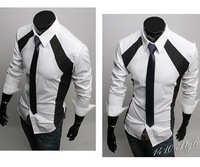 6036 Free Shipping New Mens Shirts Casual Slim Fit Stylish Dress Shirts US size S,M,L,XL Colour Black,White