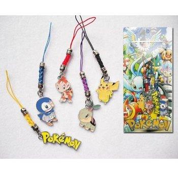 free shipping Japan anime pokemon keychain cell phone strap set  (10set lot)b1191