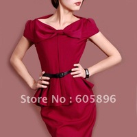 Free shipping-2011 new Fashion  dresses bow-on women's one-piece claret-red /high quality  dresses show your figure off nicely