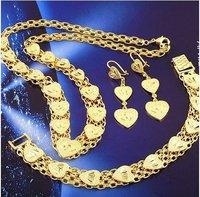 fashion jewelry set women 18k yellow gold filled heart necklace bracelet earrings set jewelry gift jewellry set