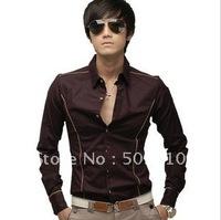 Free shipping - Wholesale - South Korean men's Shirt slim fit Cool long sleeve Dress Causal Shirts 052