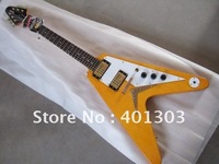 Guitar Brand electric guitar 1958 korina flying-V electric guitars Light yellow lowest price best quality