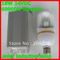 Free ship 18W 12V/24VDC solar induction lamp separate ballast 60000H lifespan energy saving than LED lamp solar street lamp