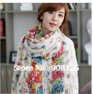 Free shipping fashion broken beautiful big flower rectangle broken beautiful scarf