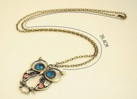 Free shipping Color diamond Carved Owl Necklace