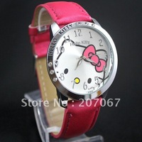 free shipping 1pcs ROSE Hello Kitty Quartz Girls Ladies Wrist Watch beautiful