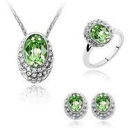 Amusing price!!! 2011 most popular Crystal Jewelry, fashion crystal necklace, silver jewelry, hot earrings for sale
