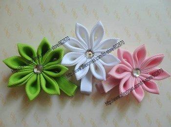 Free shipping 100pcs Petal Flower Clip with a rhinestone crystal colorful Hair Clips Hair Bows christmas bows girl's hair bows
