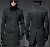 Wholesale - NEW Free Shipping Men's Fashion coat Double-breasted woolen coat lapel Slim Long jacket Gray 59120