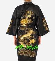 Black Chinese Men's Silk Satin Embroidery Kimono Robe Gown with Dragon S M L XL XXL XXXL S0011