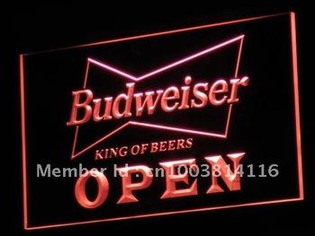 a113-r OPEN Budweiser Beer NR Pub Bar Neon Light Signs