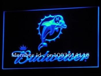 b297-b Miami Dolphins Budweiser Bar Neon Light Sign