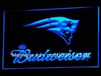 b298-b New England Patriots Budweiser Neon Light Signs