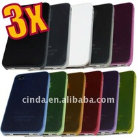 10pcs/lot&free shipping Ultra Thin 0.2 mm Plastic Fiber Case for iPhone 4