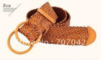 Free shipping Retro Brown 100% Genuine leather Women Waist belt /BRAIDED BELT B700