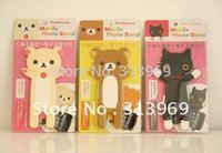 Lovely Rilakkuma Lazy Bear Hello Kitty Cat Phone Stand Holder for iphone 4g Touch MP3 MP4 moq 20pcs