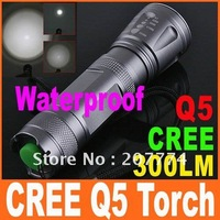 Supper Bright 300 Lumens CREE Q5 LED 5-Modes Outdoor Camping Lamp Torch Flashlight, 5pcs/lot, Free Shipping