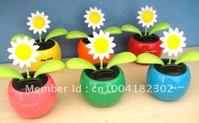 Free Shipping 15Pcs Per Lot Novelty Toy Swing Solar Dancing Shaking Flowers(China (Mainland))