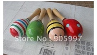 free shipping, 50pcs Hot Sale Baby Wooden Toy Rattle Cute Mini Baby Sand Hammer, maracas,musical instrument, Wholesale