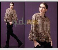 Женская одежда из кожи и замши QD11580 4Colors Genuine Rabbit Leather Coat with Fox & Lamb Trim warm charm dress/Retail/ A W