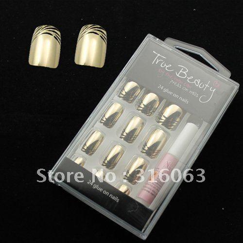 Free shipping 24pcs nail tips +1 glue Gold black pattern fake Nail False Nail full Tips NA330(China (Mainland))