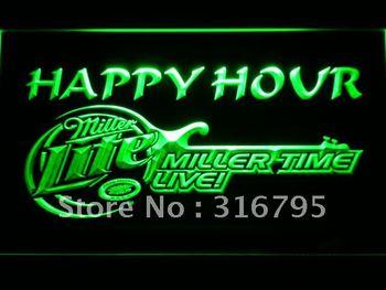606-g Miller Lite Guitar Happy Hour Bar Beer Neon Sign