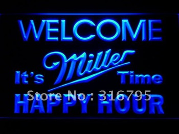 646-b Welcome Miller Time Happy Hour Bar Neon Sign