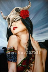 Handmade Erotic Smoking Red lip Sexy Girl Canvas Painting Reproduction.Let It Bleed by Brian M. Viveros(Hong Kong)