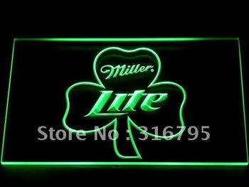 020-g Miller Lite Shamrock Beer Bar Pub Neon Light Sign