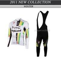 Free Shipping!! WINTER CYCLING JERSEY+BIB PANTS BIKE SETS CLOTHES 2011 THC TEAM-WHITE-SIZE:XS-4XL