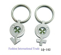 Free shipping, real four leaf clover Keychain,rhinestone keyring for lovers' pendant,fashion jewelry, free gift box