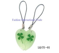 Free shipping,Luminous cellphone strap real four leaf clover,mobile strap for lovers' pendant,fashion jewelry, free gift box