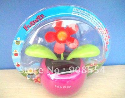 Novelty Gift Free Shipping Magic Cute Flip Flap Solar Flower Home&Car Decoration Dancing Shaking Flower(China (Mainland))