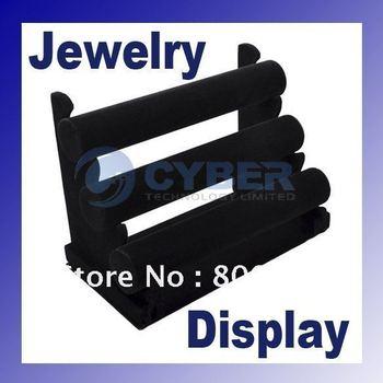 Black 3 rows velvet bracelet/bangle watch/jewelry display Stand Rack 2099