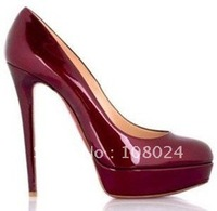 Latest styles Free shipping dark red patent leather Women's high heel pumps