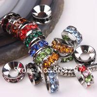 10mm 100pcs / Rhodium Plated / Multi Color Crystal Rhinestone / Big Hole European / Spacers Beads / Fit Charm Bracelet