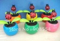 15pcs per lot Wholesale Free Fhipping Via  China Post Air Mail  Lady Bug  Shaking  No Battery No Water Solar Energy Flower