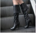 3 color free shipping western fashion pu zip high heel double wear women rider knee boots lady casual shoes