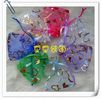 New Beautiful 7cm*9cm Jewelry Bag,Heart Yarn Necklaces,Rings,Earrings Bag 7 Color,FREE SHIPPING 100pcs/bag