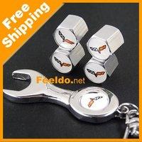 Car tire valve caps 4pcs + wrench key chain For Corvette free shipping#1153
