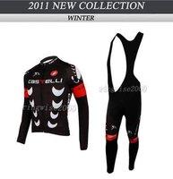 Free Shipping!! WINTER CYCLING JERSEY+BIB PANTS BIKE SETS CLOTHES 2011 CASTELLI TEAM-BLACK-SIZE:XS-4XL