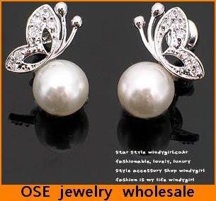 wholesale korean fashion tassel butterfly pearl stud girl's earrings jewelry D531
