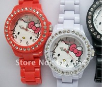 Hello Kitty watch with diamond crystals fashion odm watch plastic lady watch 50pcs/lot DHL/EMS free shipping