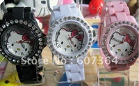 Hello Kitty watch with diamond crystals fashion odm watch plastic lady watch 100pcs/lot DHL/EMS free shipping