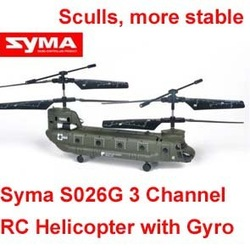Syma S026G 7inch RC Remote Control Helicopter, 3 Channels Infrared Control Indoor/outdoor Mini Boeing CH-47 Chinook Helicopter w(China (Mainland))