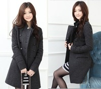 Free Fhipping,New Fashion Women's Slim Wool Double-breasted Coat Winter,Gray/black,S / M / L Retail