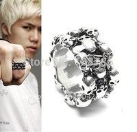 24pcs/lot Free shipping mens ring men finger ring skull ring wholesale retailer