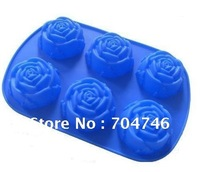 10pcs Silicone Candle Mold Cake Soap Mould Silicone Cake Mold/Muffin Cupcake Six even rose