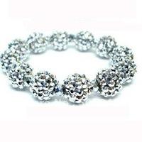 fashion 12mm stretch shamballa silver rhinestone bracelet
